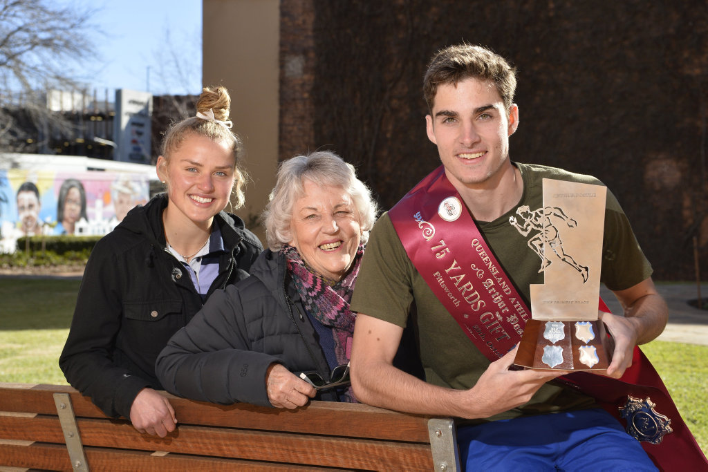 GIFT LAUNCH: At the launch of the 2019 Arthur Postle Gift are (from left) Abbey Holley, Del Mason and inaugural Postle Gift winner Max Mason. The Postle Gift, which is open to male and female athletes, will be run in Pittsworth on September 14.