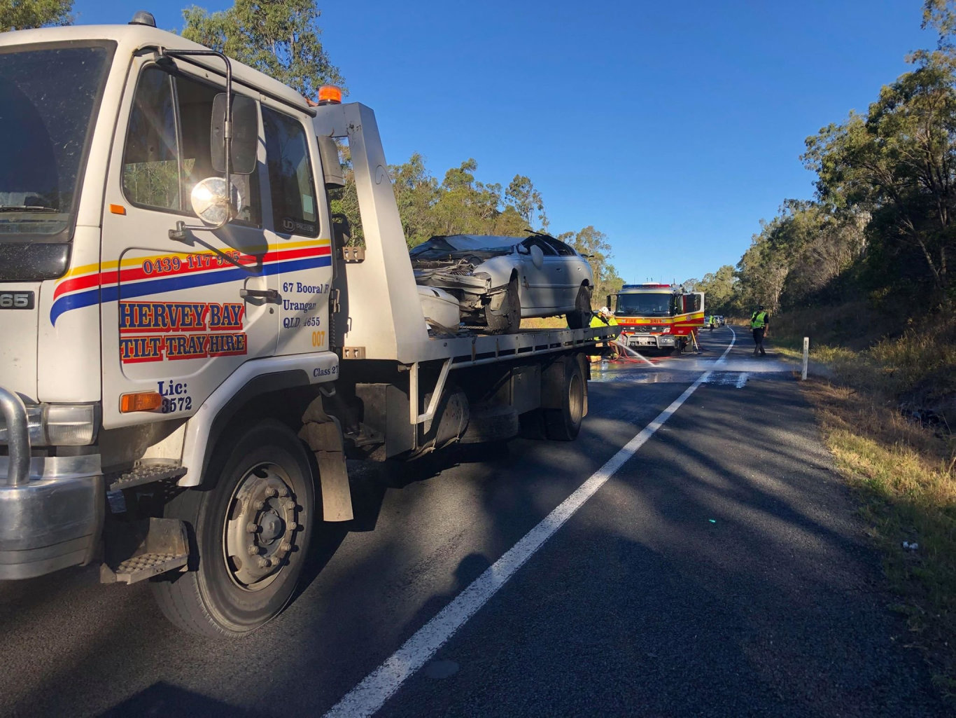 The scene of a single-car roll over on the Bruce Hwy in Torbanlea near Burrum River Rd about 2.40pm today.