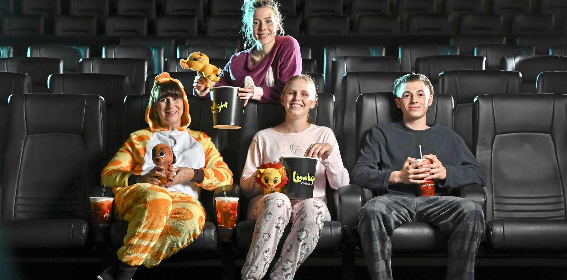 PYJAMA PARTY: Tracey Tienan, Reegan Johnston, Ebony Jackson and Noah Atley ahead of Limelight's Big Kids Pyjama Party Screening of  Th e Lion King.
