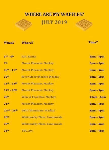 Letz Waffle July schedule.