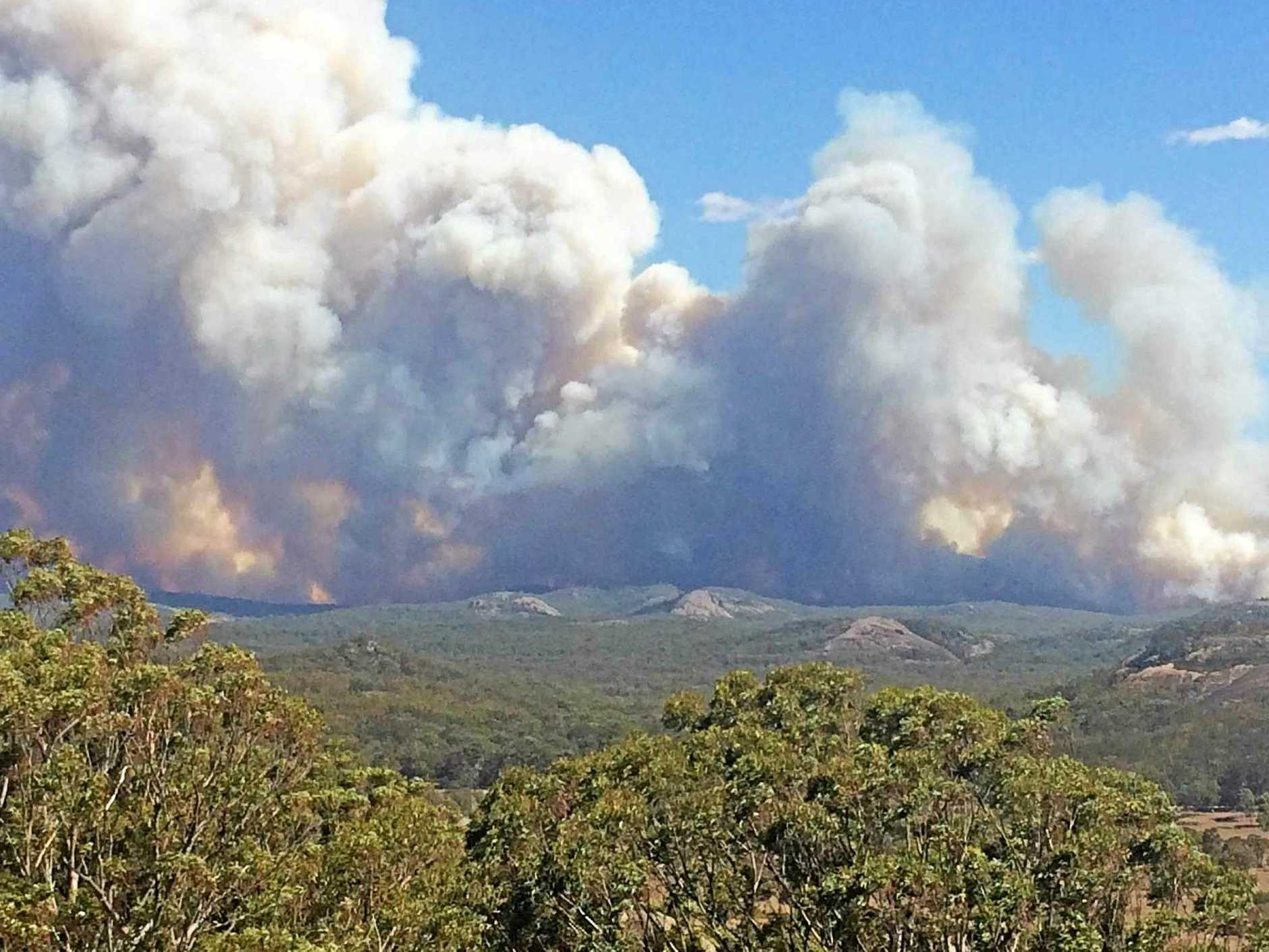 FILE PHOTO: An aerial shot of the Wallangarra fire in February which damaged a number of parks near Tenterfield.