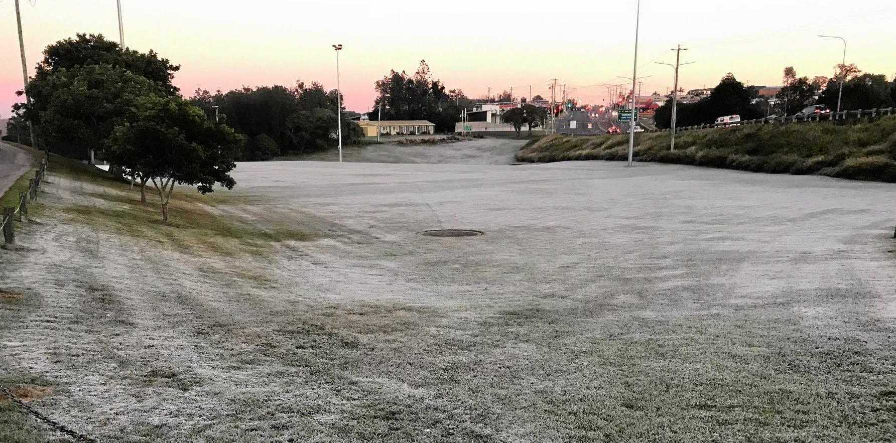 HEAVY FROST: Residents awoke to another cooler morning in Gympie with temperatures plummeting below zero. Photo taken at Albert Park.