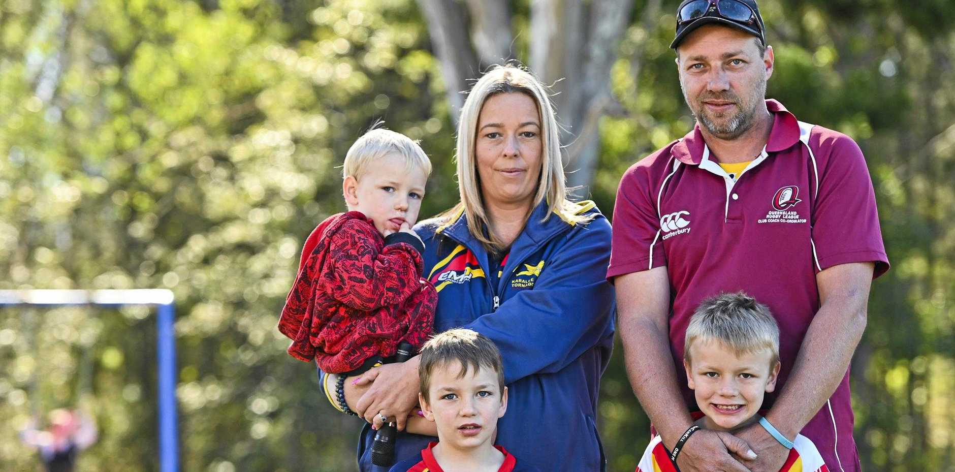 Amy and Michael Huckel with, Jasper, 3, Harper, 5, Wyatt, 6 are campaigning to bring a high school to Karalee.
