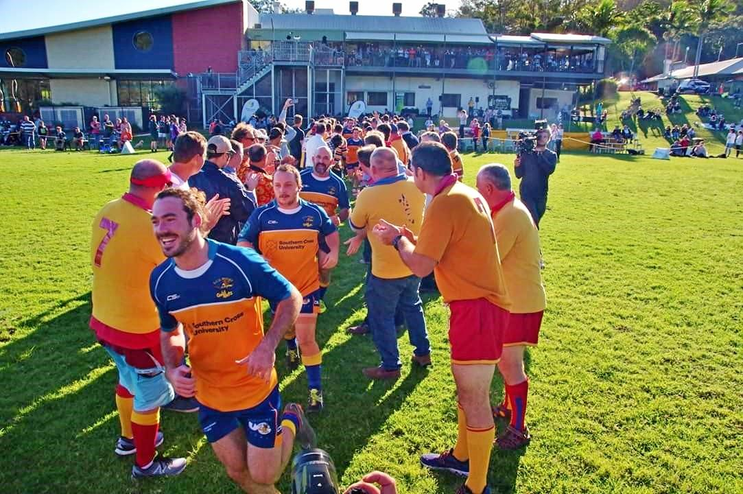 Peter Murphy running on  with a big crowd for game 300 in SCU 1st Grade 50-14 win over Lismore City.