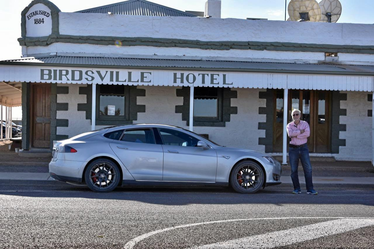 Keith and Lesley Wein made it from Melbourne to Birdsville in their Tesla. It is the first time some towns in the southwest have seen an electric car.