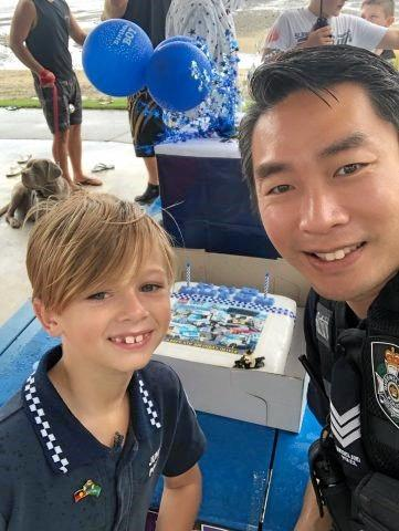 Oliver-James Crawford and Sergeant Billy Li at Oliver-James 8th birthday.