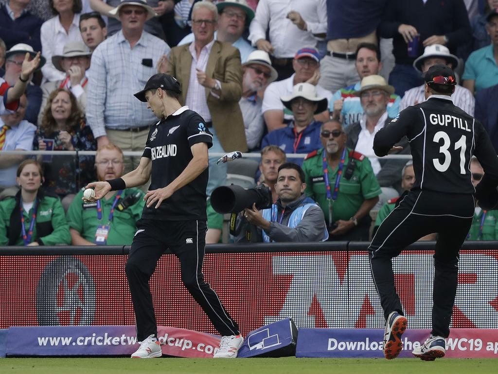The moment Trent Boult stepped on New Zealand's World Cup hopes. Picture: AP