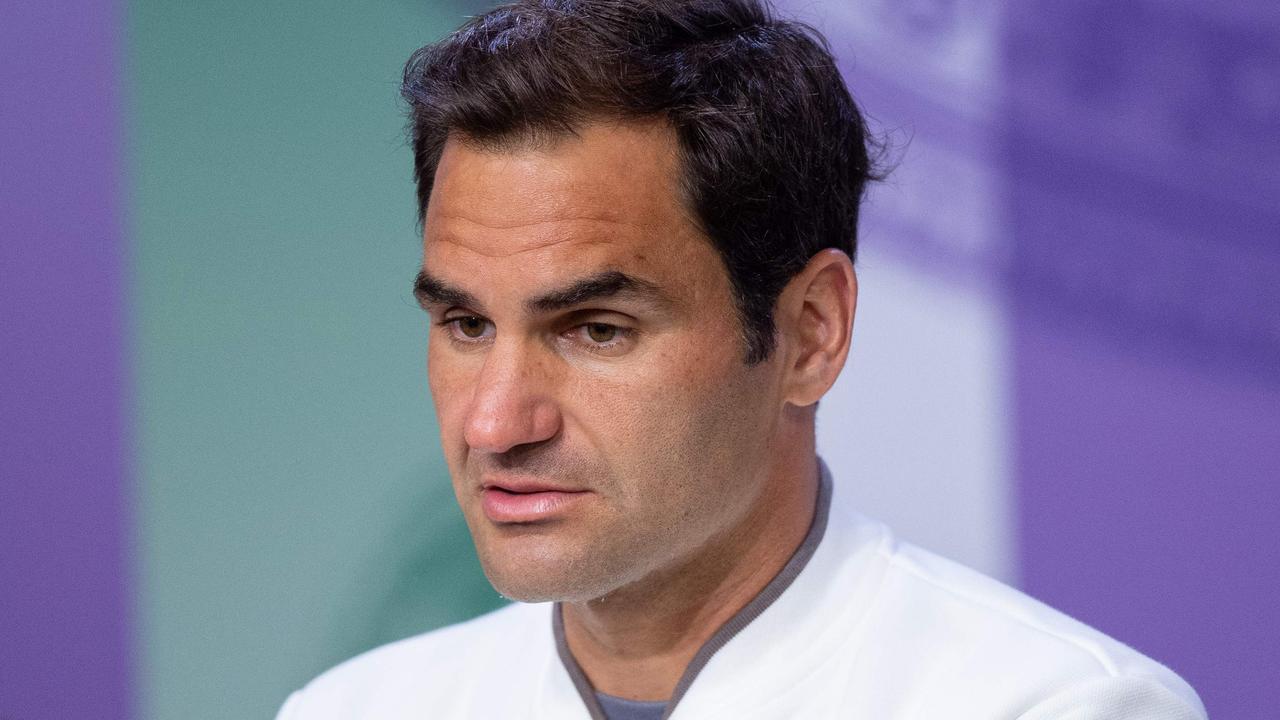 A dejected Roger Federer.