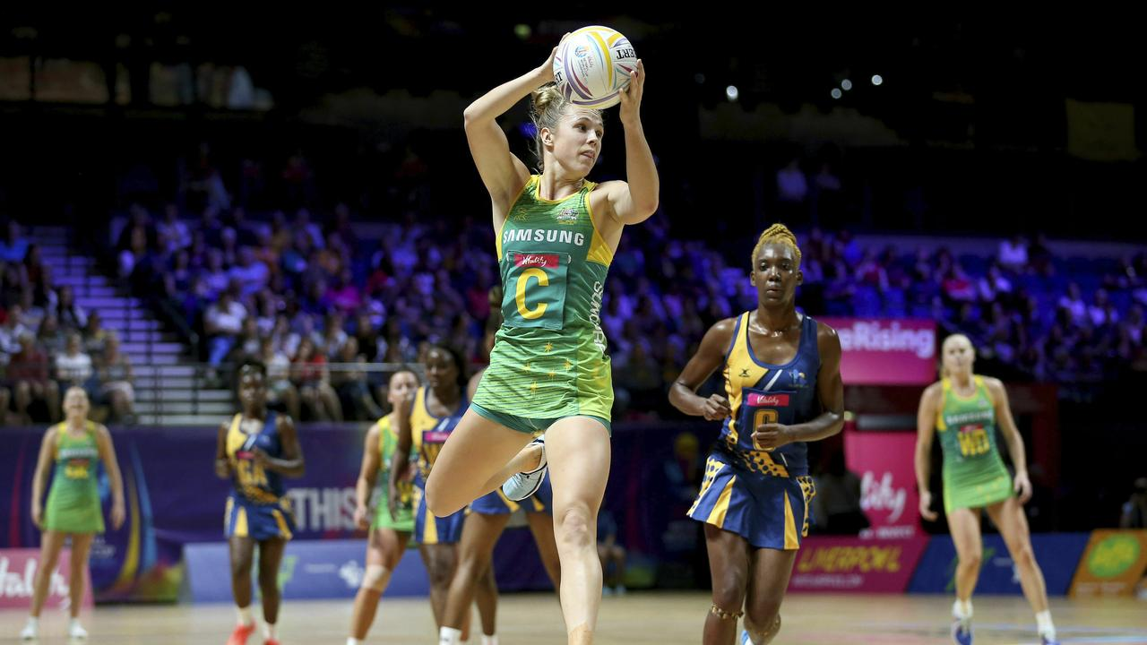 Paige Hadley has been tried at wing defence — but was deployed at centre against Barbados. Picture: AP
