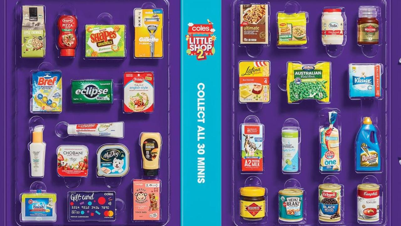 Little Shop 2 contains 30 mini replicas including iconic brands such as Vegemite. Picture: Coles