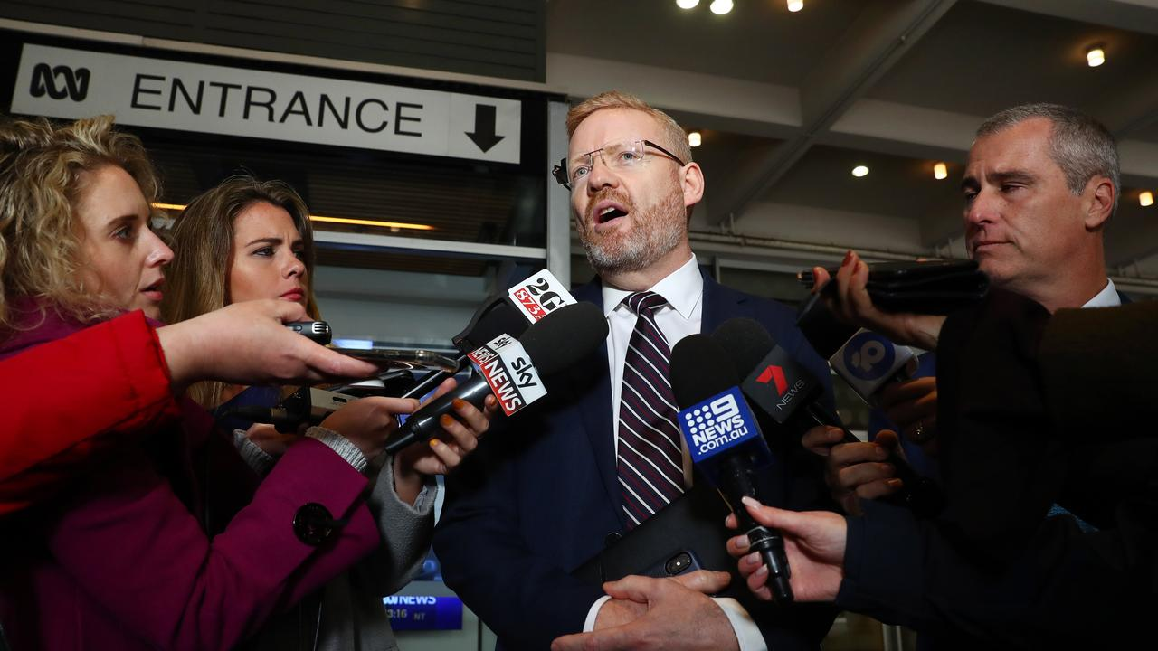 ABC Editorial Director, Craig McMurtrie updates the media during the raids. Picture: John Feder