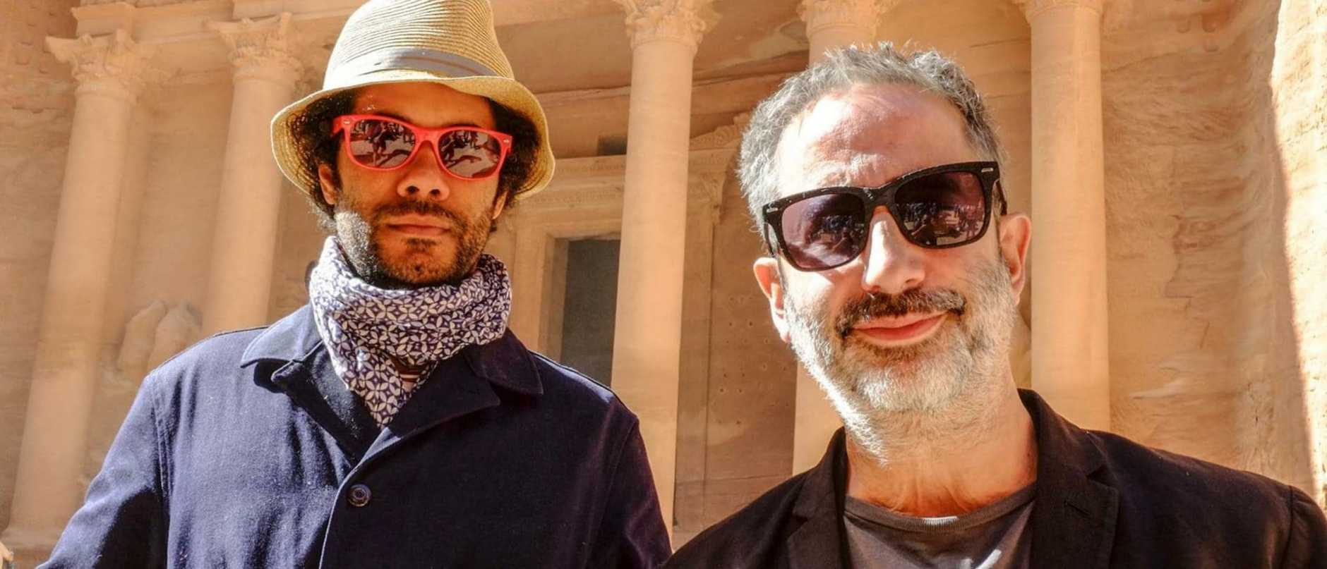 Richard Ayoade and comedian David Baddiel in a scene from Travel Man.