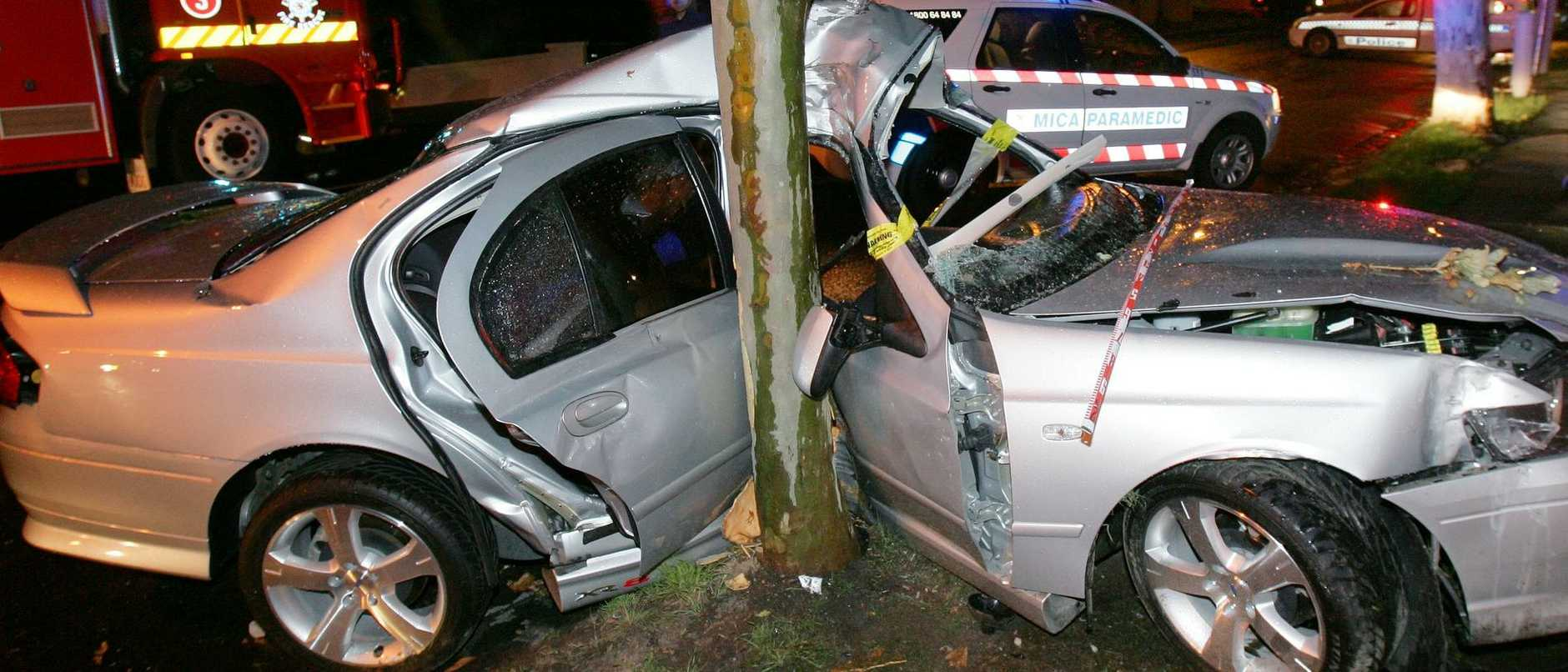 12/12/2005 NEWS: A car hit a tree in Orrong Road tonight during a flash storm, the driver suffered only minor injuries.