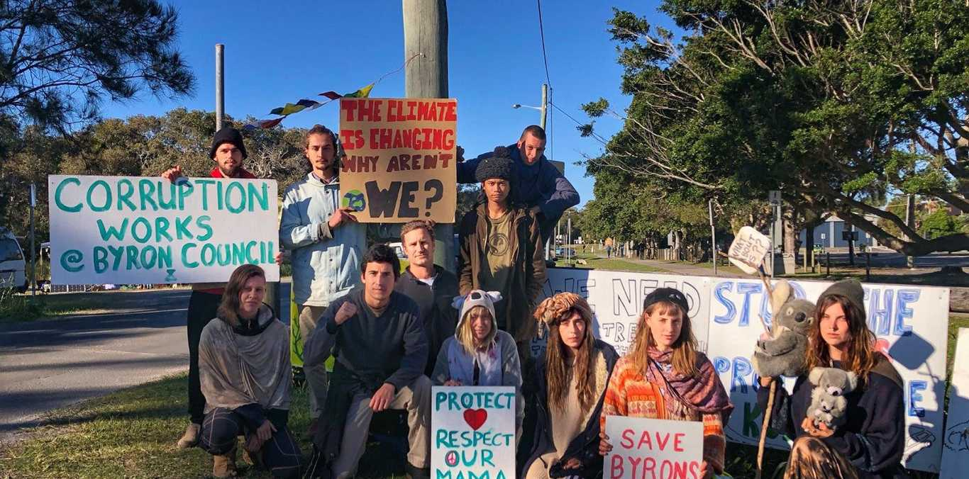 Protesters are blocking the Butler St site where work is due to start on the Byron Bay bypass.