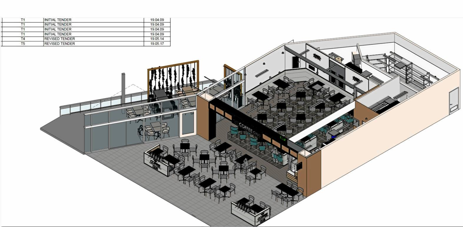 A detailed plan of new Coffee Club cafe opening in Gympie central Shopping Centre.