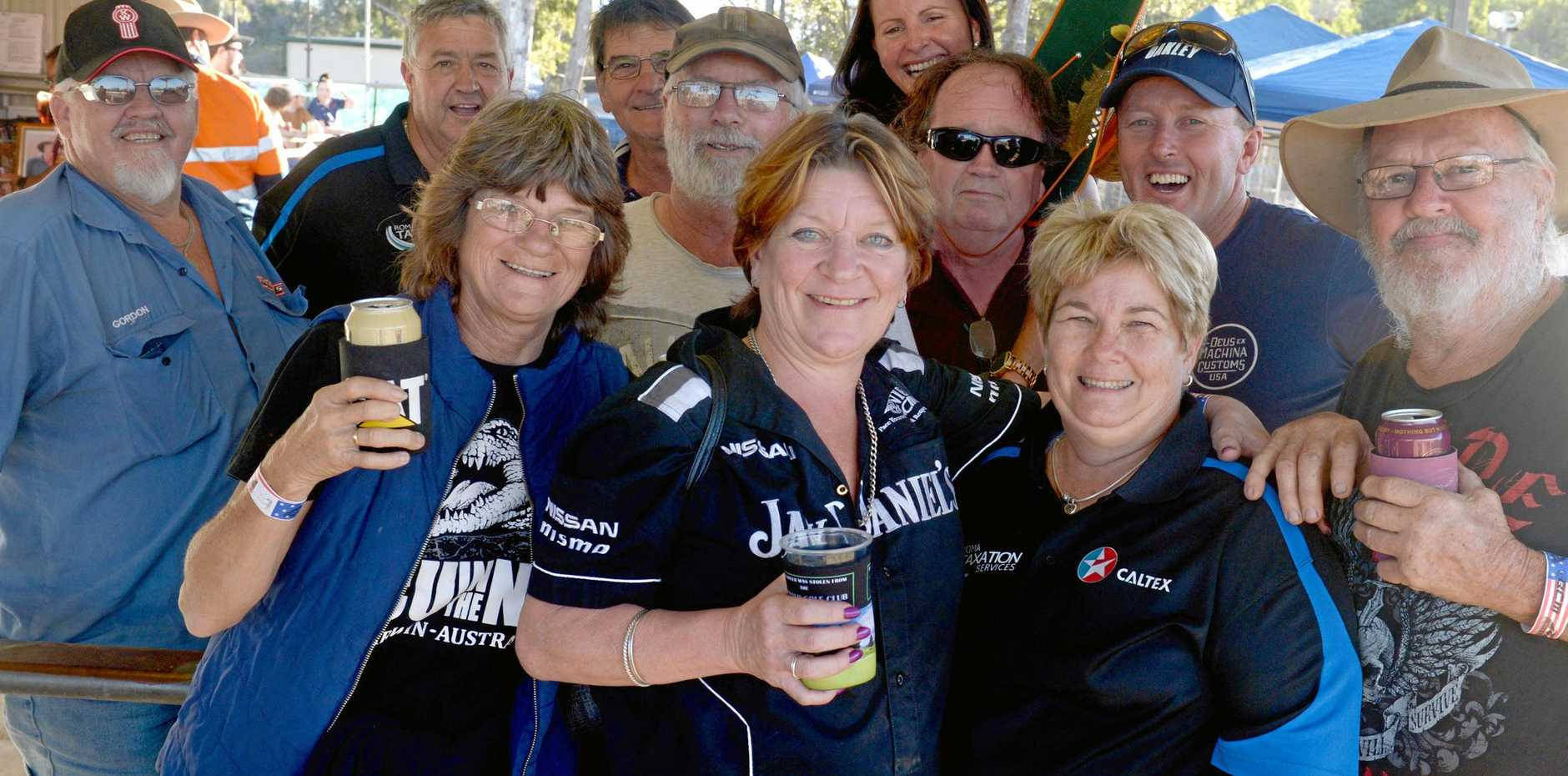 Porky Jurd, Darryl Beck, Sao Kay, Stacey Bowden, Steve Bryon, David Bryon, Natalie Garwood, Leanne Richters, Dana Beck, Craig McDermott and Myrtle Whitbread at the Twin Track Mud Truck CQ titles on Saturday