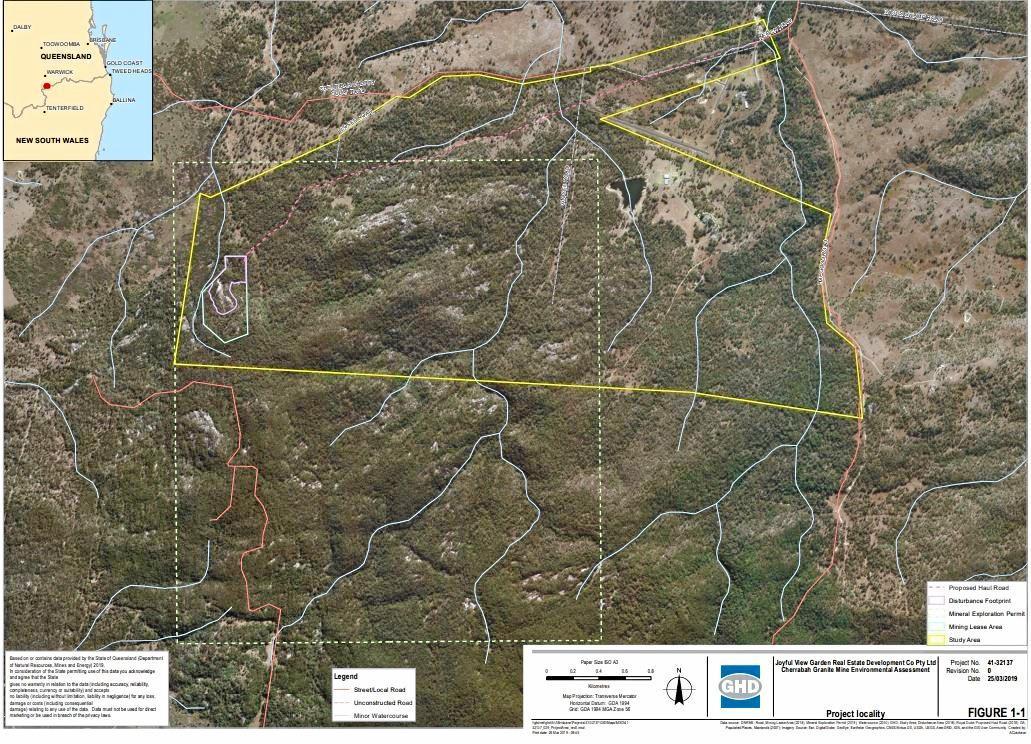 The proposed site for the Cherrabah granite mine.