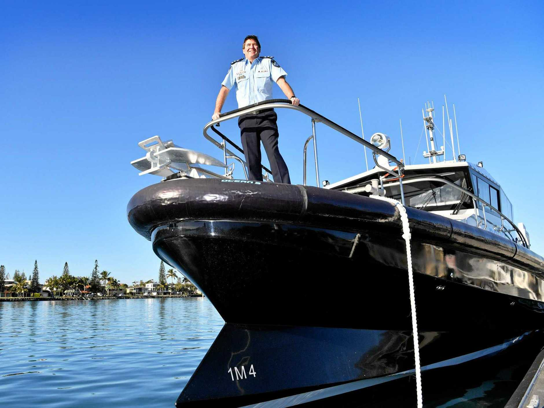 Sunshine Coast Superintendent Darryl Johnson with the new state-of-the-art Water Police vessel at Mooloolaba.