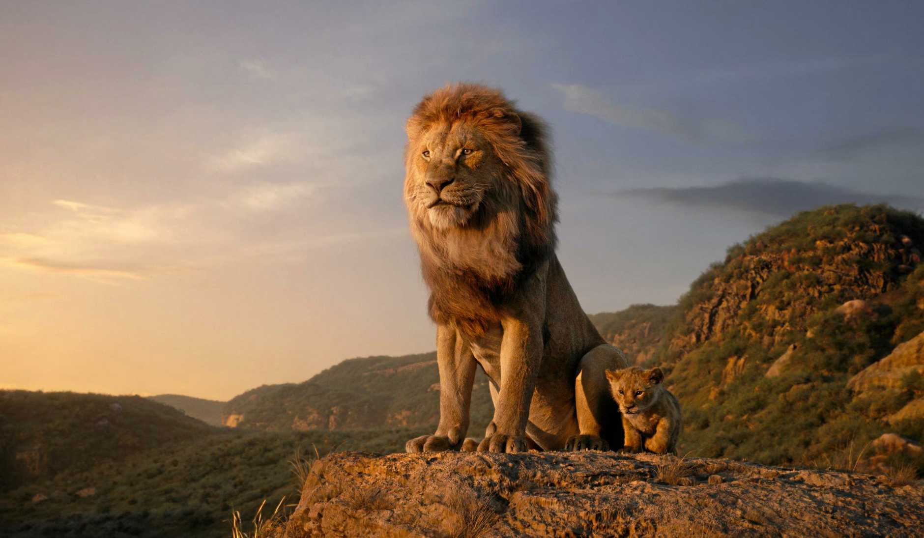Mufasa (James Earl Jones) and Young Simba (JD McCrary) in a scene from Disney's live-action remake of the movie The Lion King.