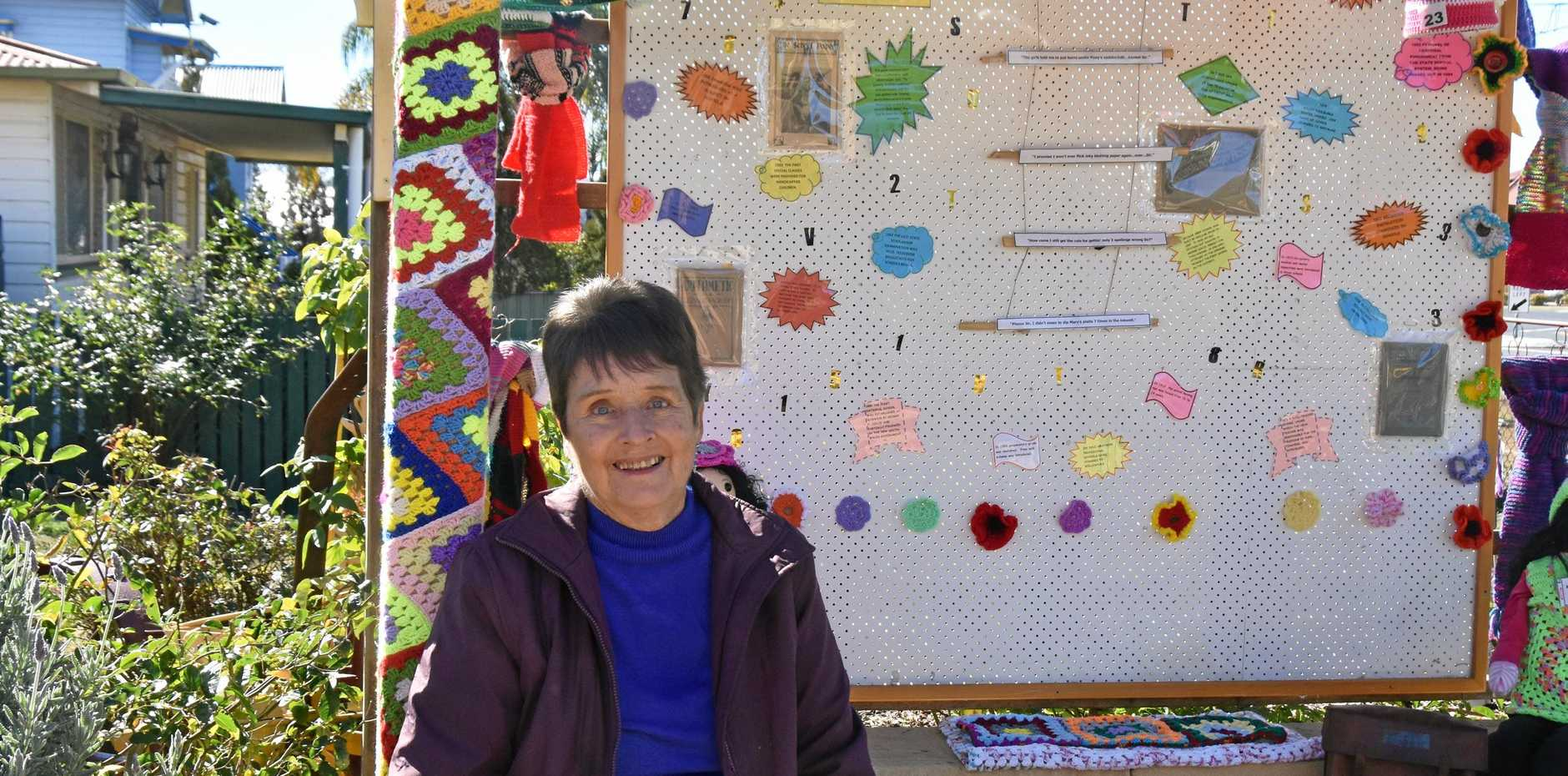 DING DONG: Evelyn Eastwell celebrates region's lost schools in yarnbombing display