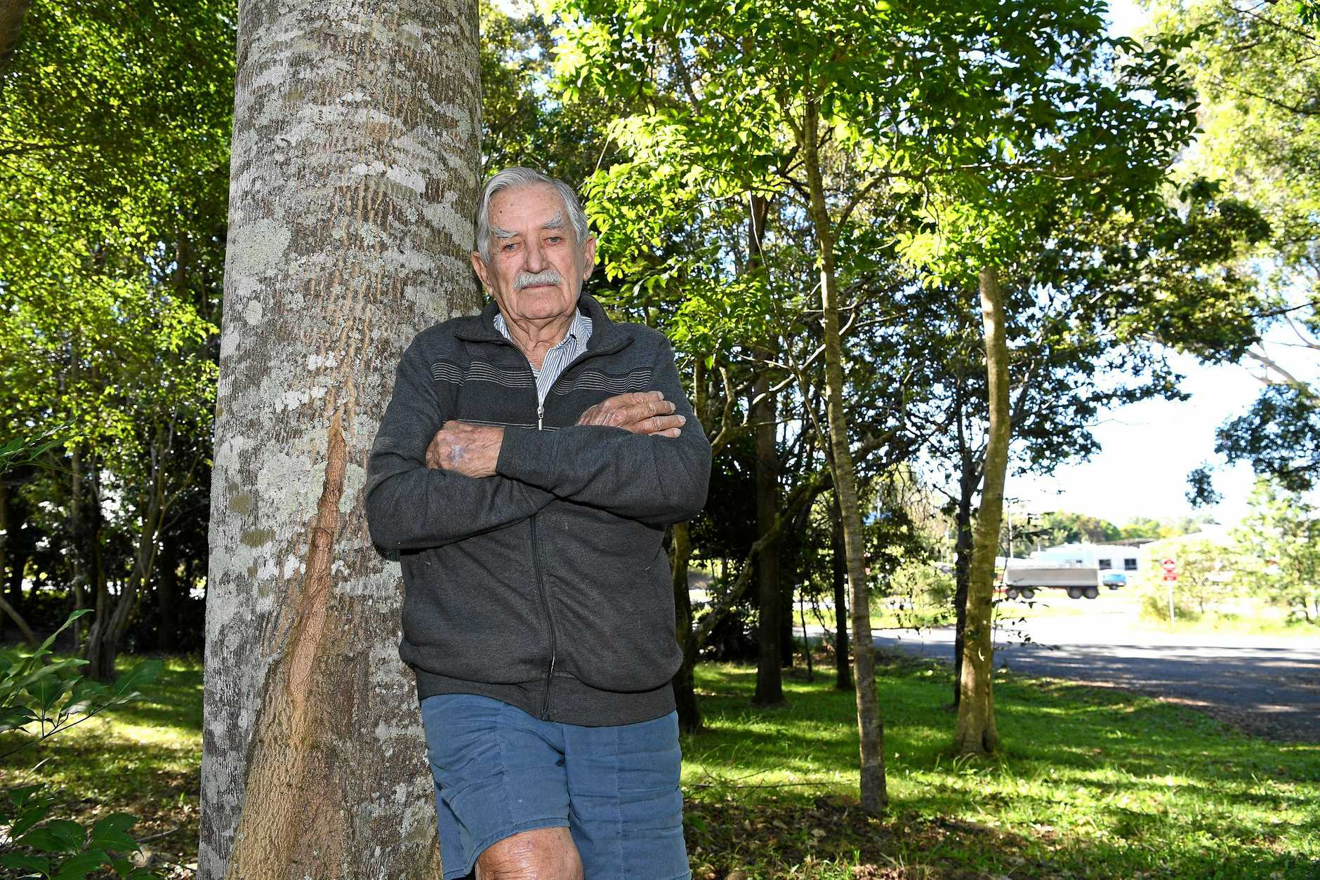 Doug Corbett is angry part of his property is being resumed for the Bruce Highway upgrades.