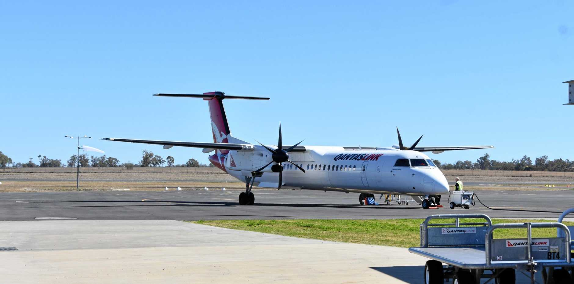 Passengers have been stranded after an oil spill suspended a Tuesday morning flight to Brisbane.