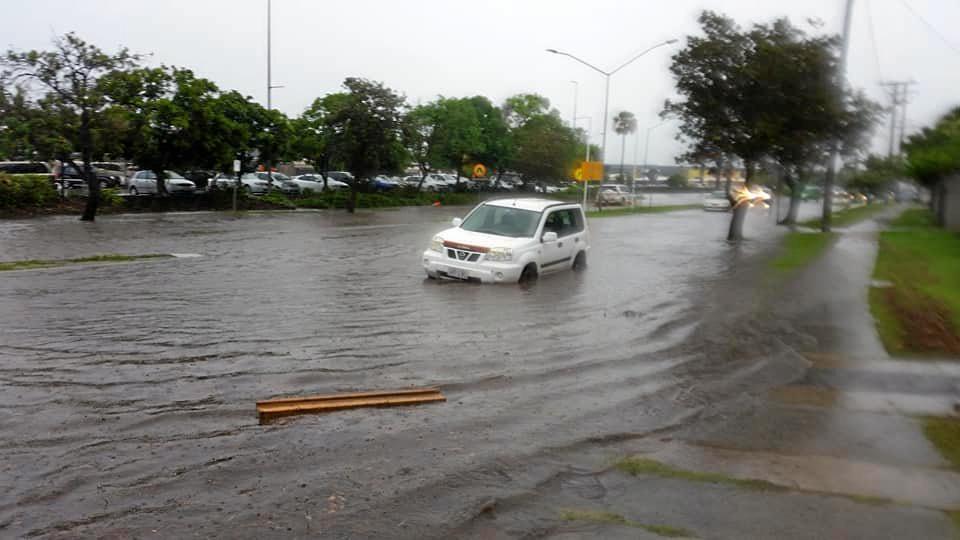 INUNDATED: Point Cartwright Drive floods near Kawana Shoppingworld at Buddina in 2017.
