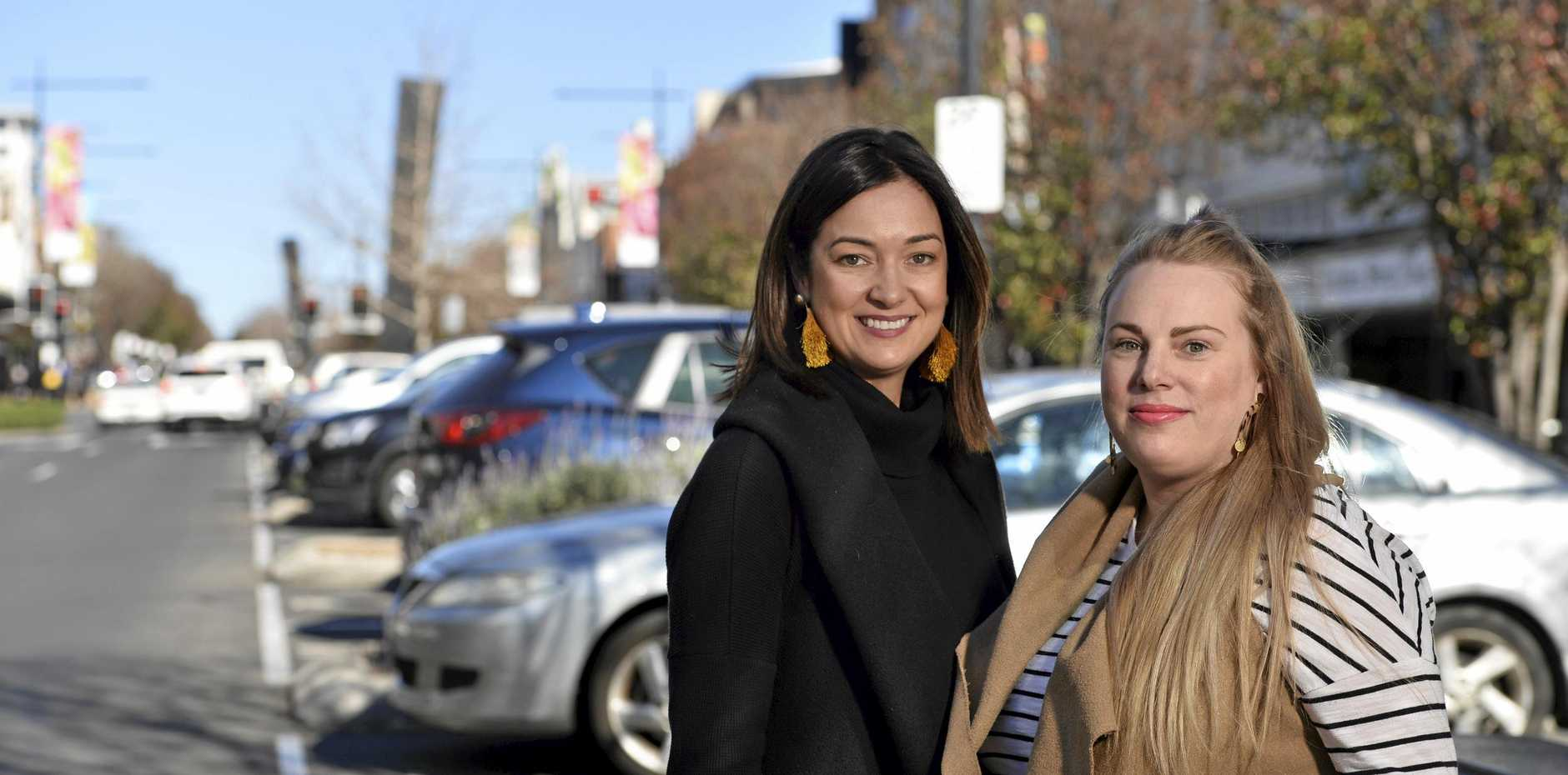 The Bungalow and Basket owners Sally Cleary (left) and Jodi Paynter look forward to parking changes in the Toowoomba CBD, Tuesday, July 16, 2019.