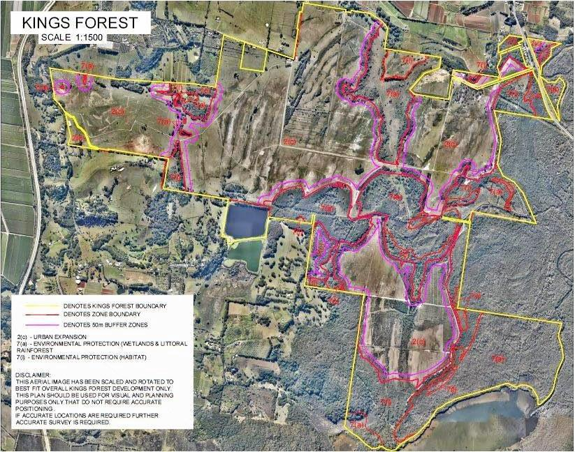 NSW Police have released this image outlining the area of Kings Forest owned by LEDA Developments.