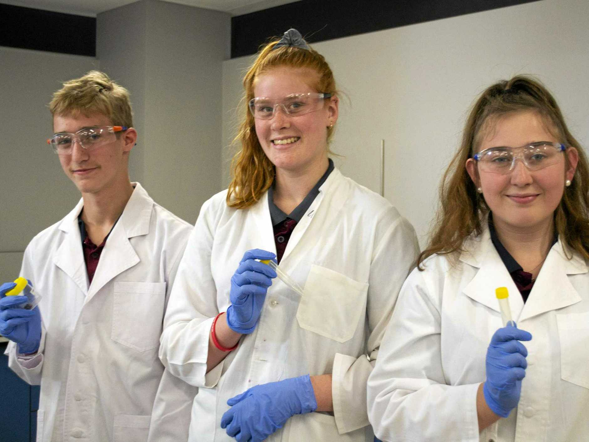 Nanango State High School's Joshua Feakins, Danika Deweers and Bella Schilf take science to the next level at UQ's Experience Science program.