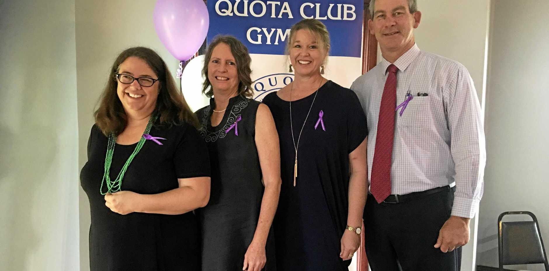 Mayor Mick Curran (far right), with Quota Club members Carolyn Mandersloot, Jenny Blyth, and Sue Curran.