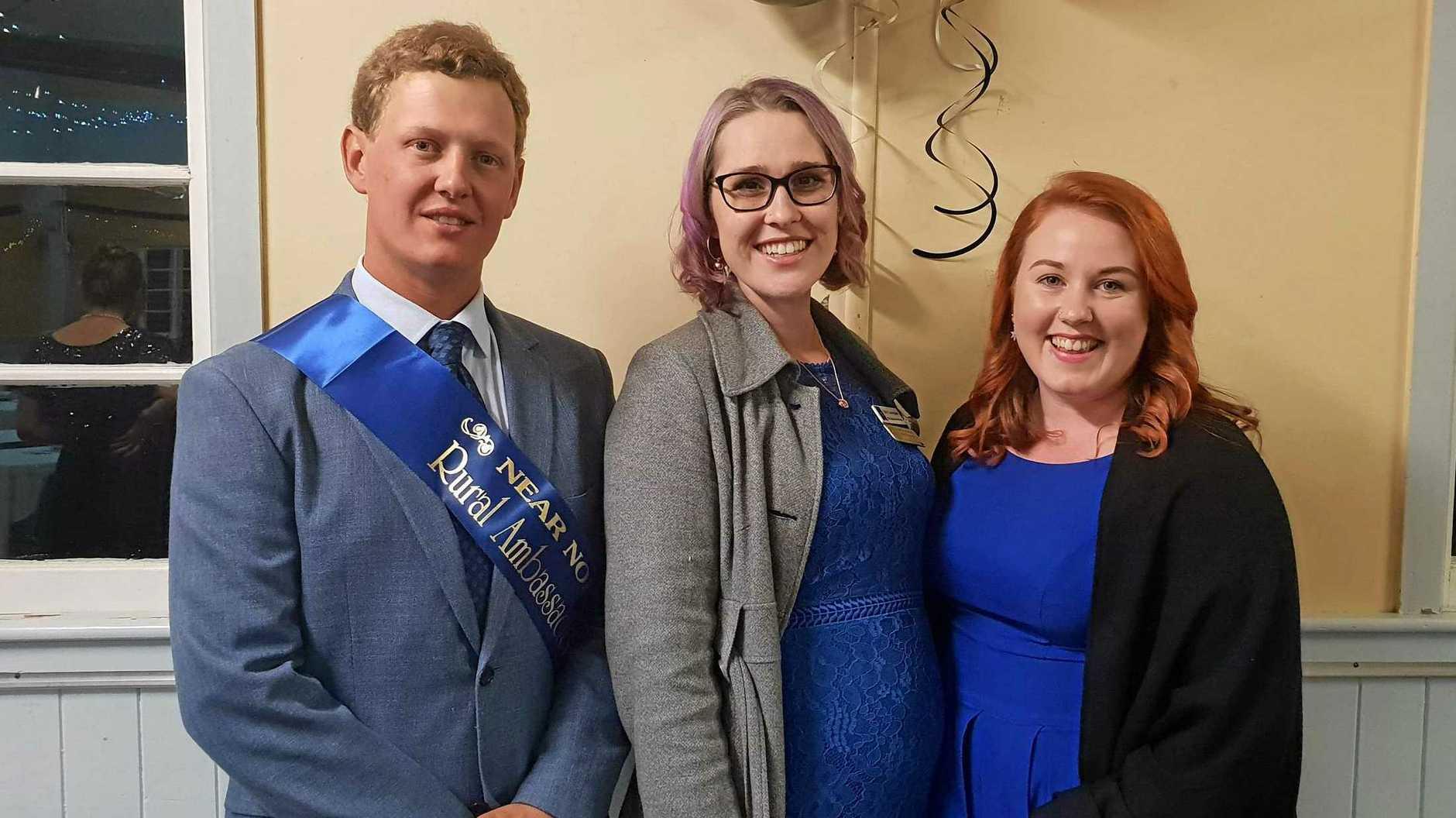 2019 Near North Coast Rural Ambassador Myles Newcombe with 2018 Rural Ambassador Emily Larkin and 2017 Rural Ambassador Mikaela Calvert at Kenilworth on Saturday night.