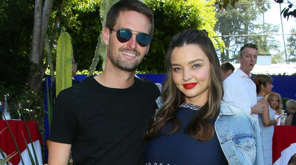Miranda Kerr and husband Evan Spiegel attend France's National Day Reception at La Residence de France in Beverly Hills, California. Picture: JB Lacroix/Getty Images