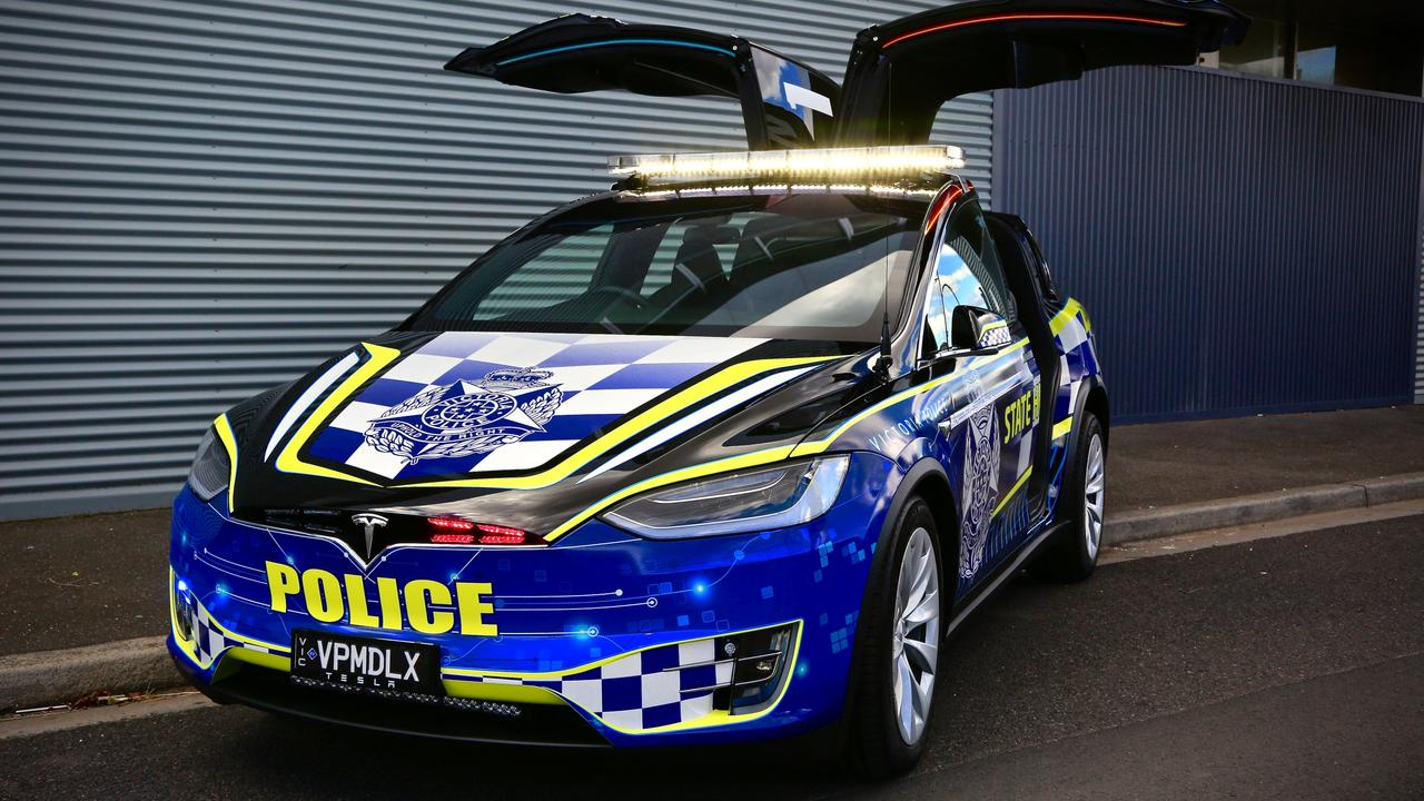 Victoria Police bought a Tesla Model X to use as a highway patrol car.