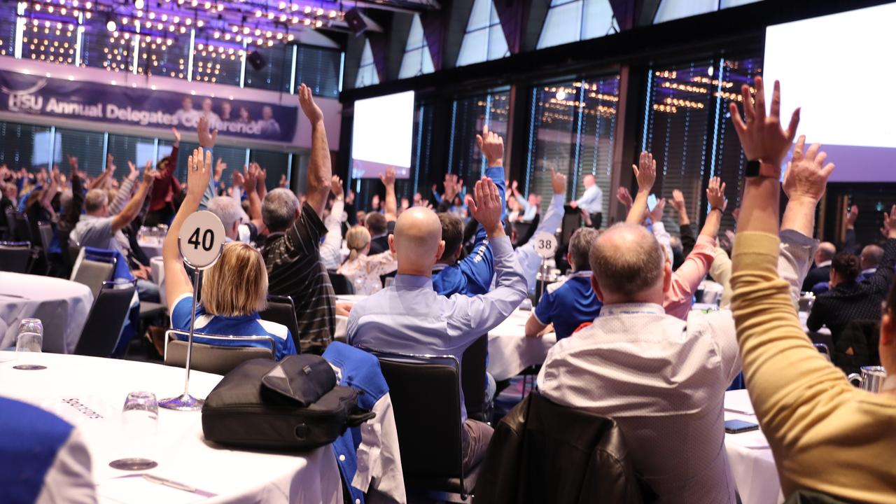 HSU members vote for the stop work motion during a conference in Sydney. Picture: John Grainger