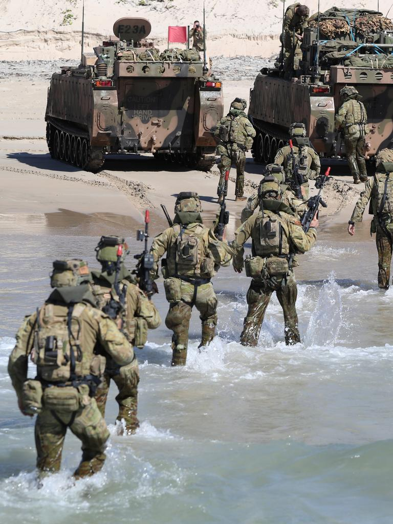 Australian Forces during a beach assault at Shoalwater Bay. Picture: Peter Wallis