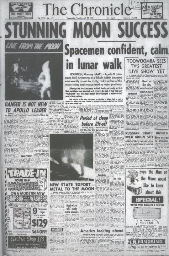The front page of The Chronicle on July 22 1969, celebrating the Apollo 11 moon landing.
