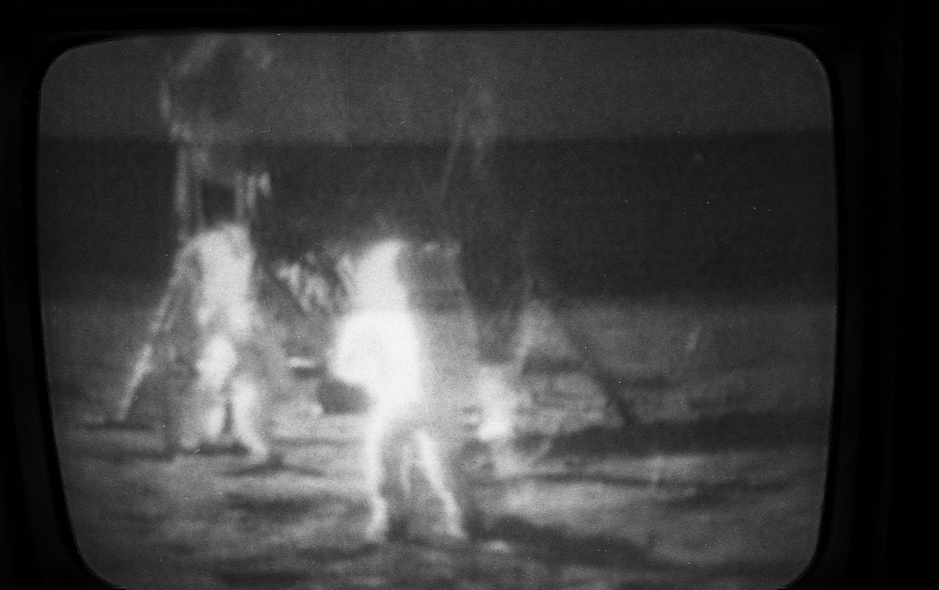 Photographs taken from the television during Apollo mission in July 1969. The Chronicle Archives