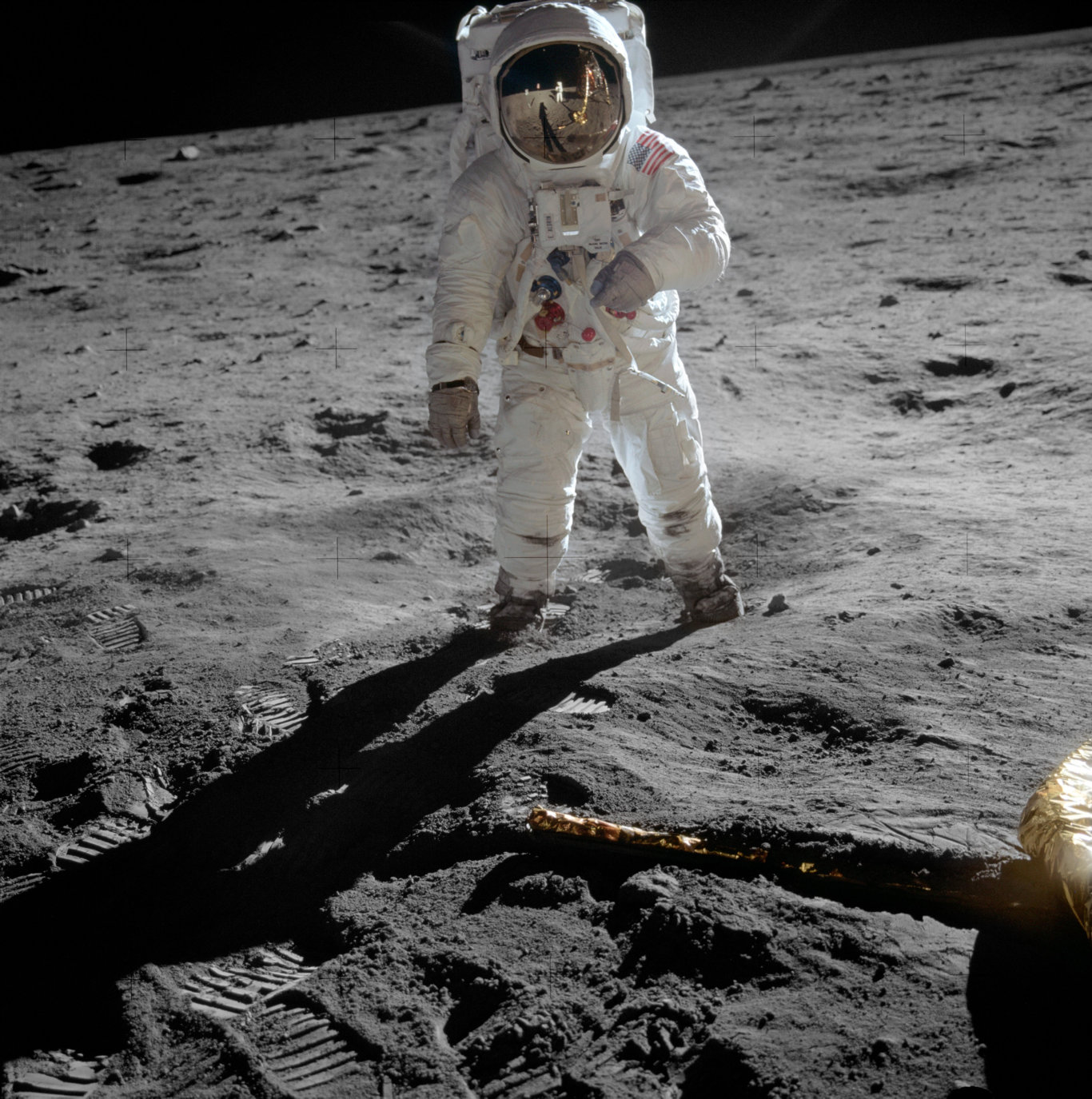 Buzz Aldrin on the moon in a photo taken by Neil Armstrong.