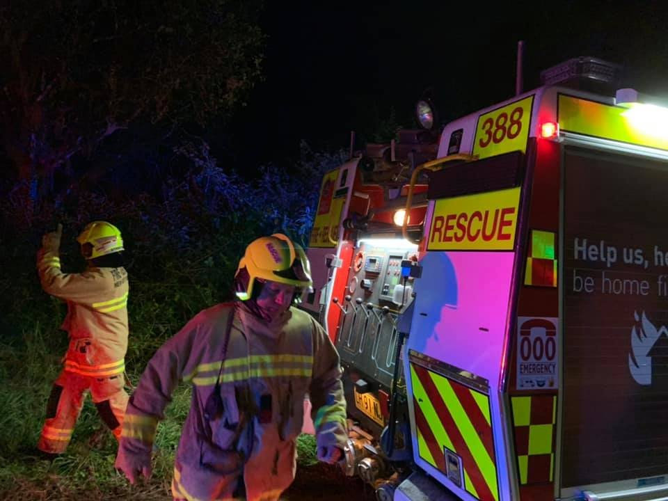 HOUSE FIRE: F&RNSW Mullumbimby 388 Pump and Fire Crew assisting Wilsons Creek RFS with a water relay for a house fire early this morning.
