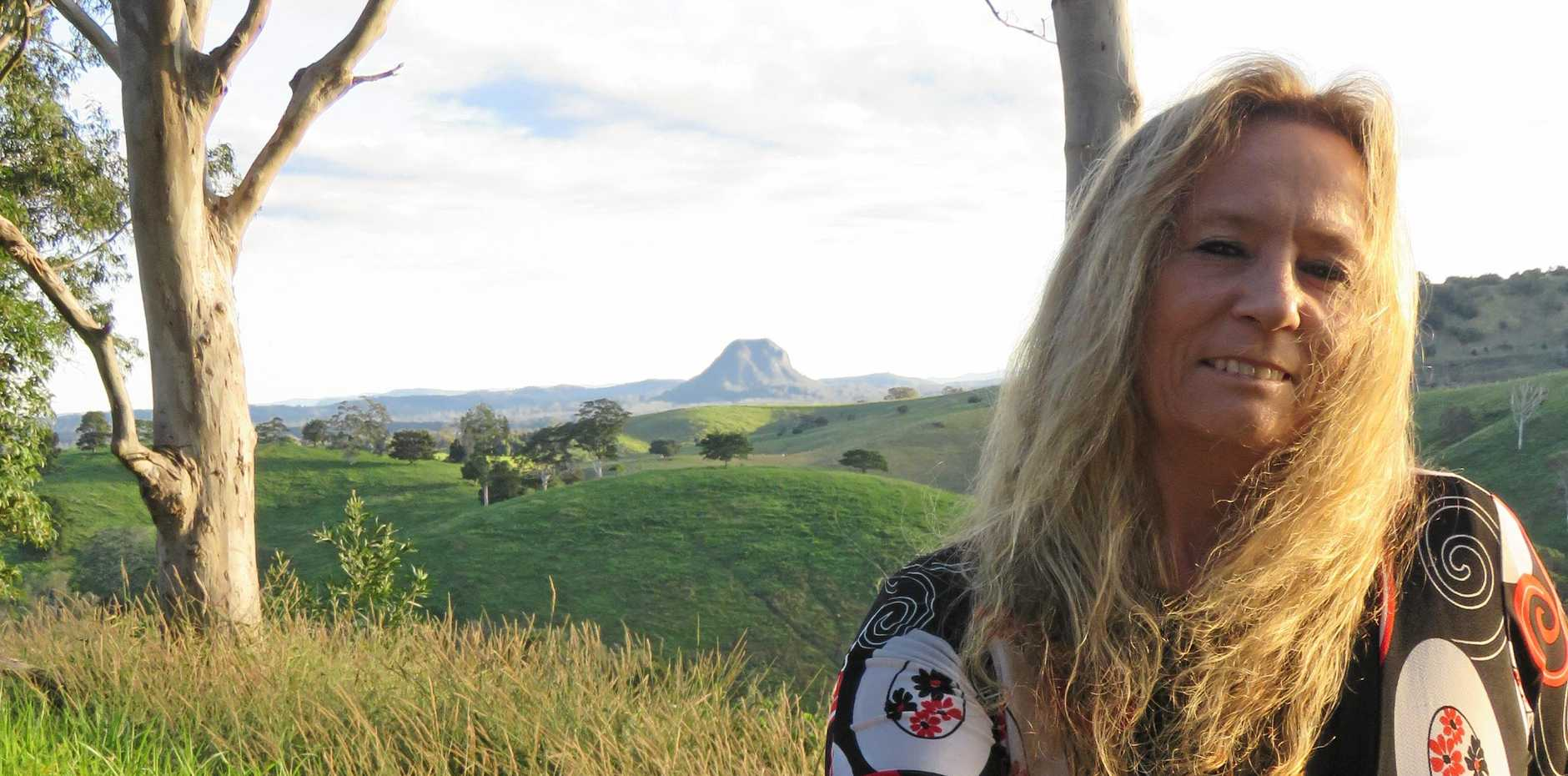 INSPIRED BY SURROUNDINGS: The Cootharaba hills offer Leanne Airey a great view of Mt Cooroora.