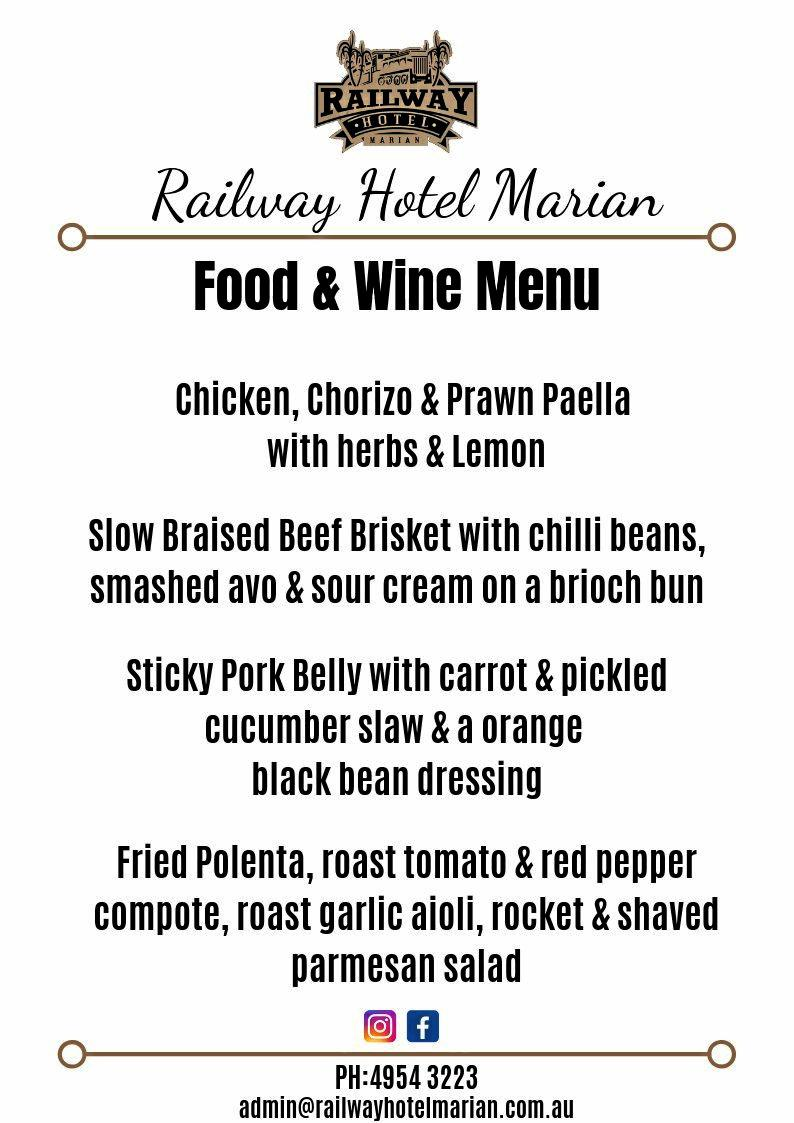 Complete menu for Railway Hotel Marian.
