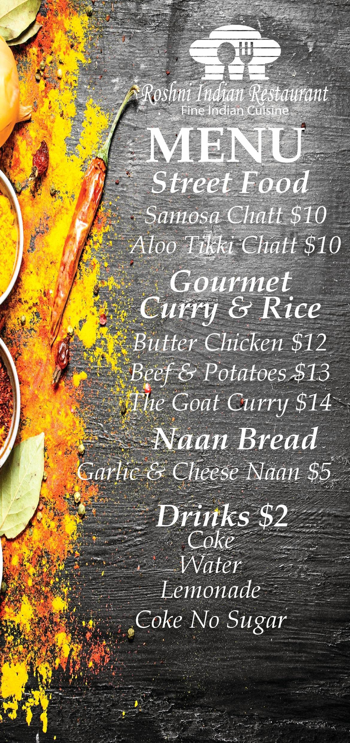 Roshni Indian's complete Wine and Food Day menu