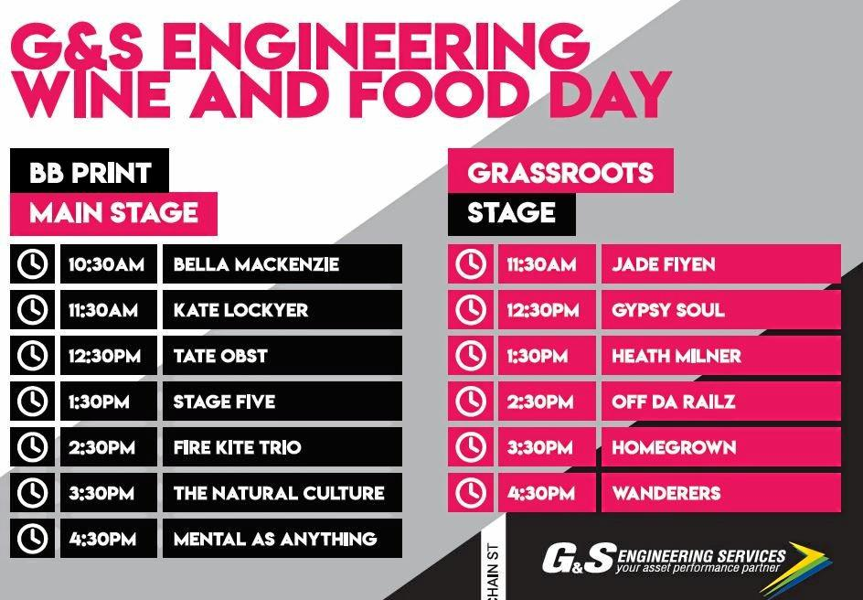 The G&S Engineering Wine and Food Day music and entertainment timetable.