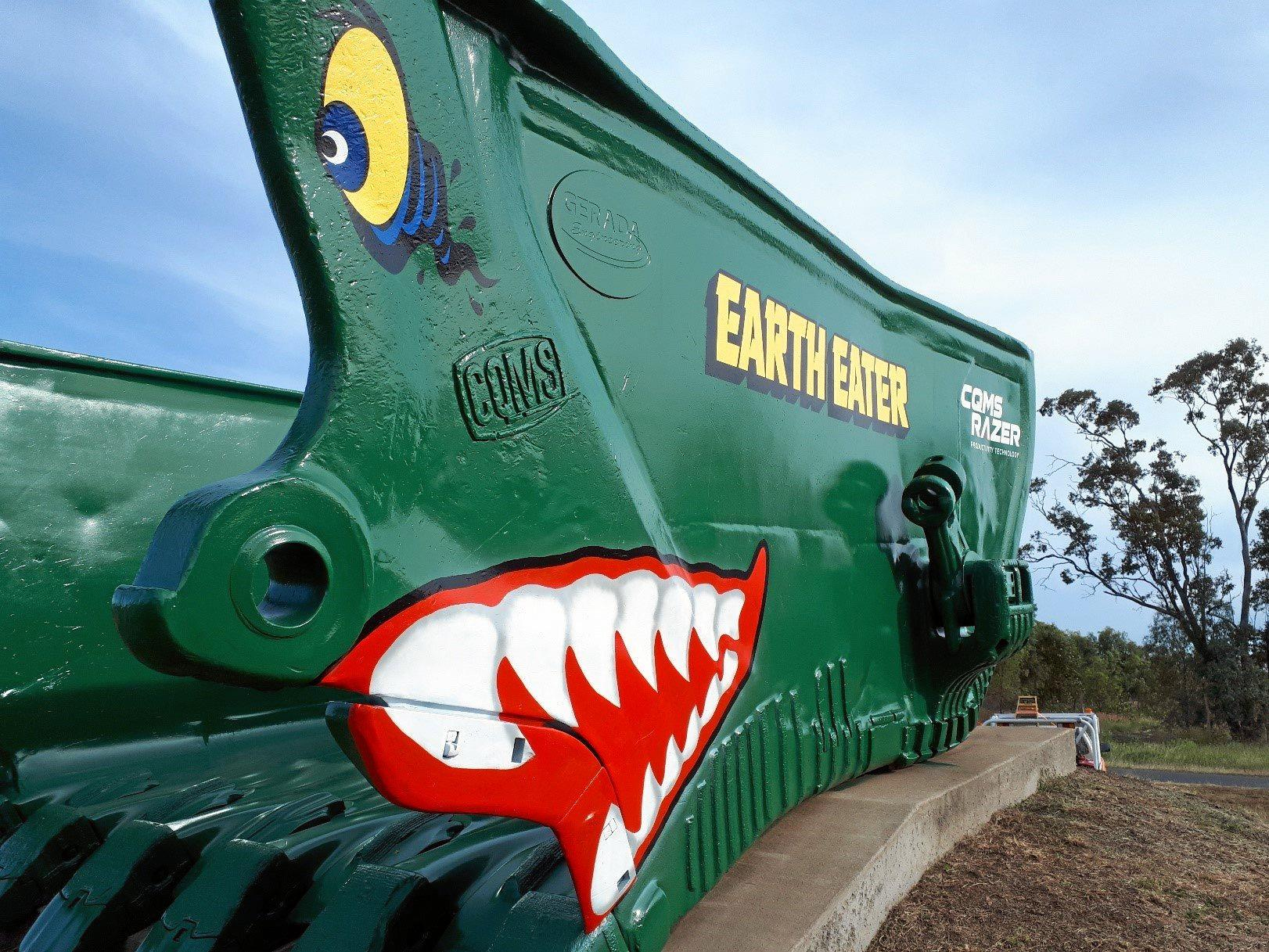 STRIKING DESIGN: The EarthEater dragline bucket at the entrance to the Capella Industrial Park has been refurbished.