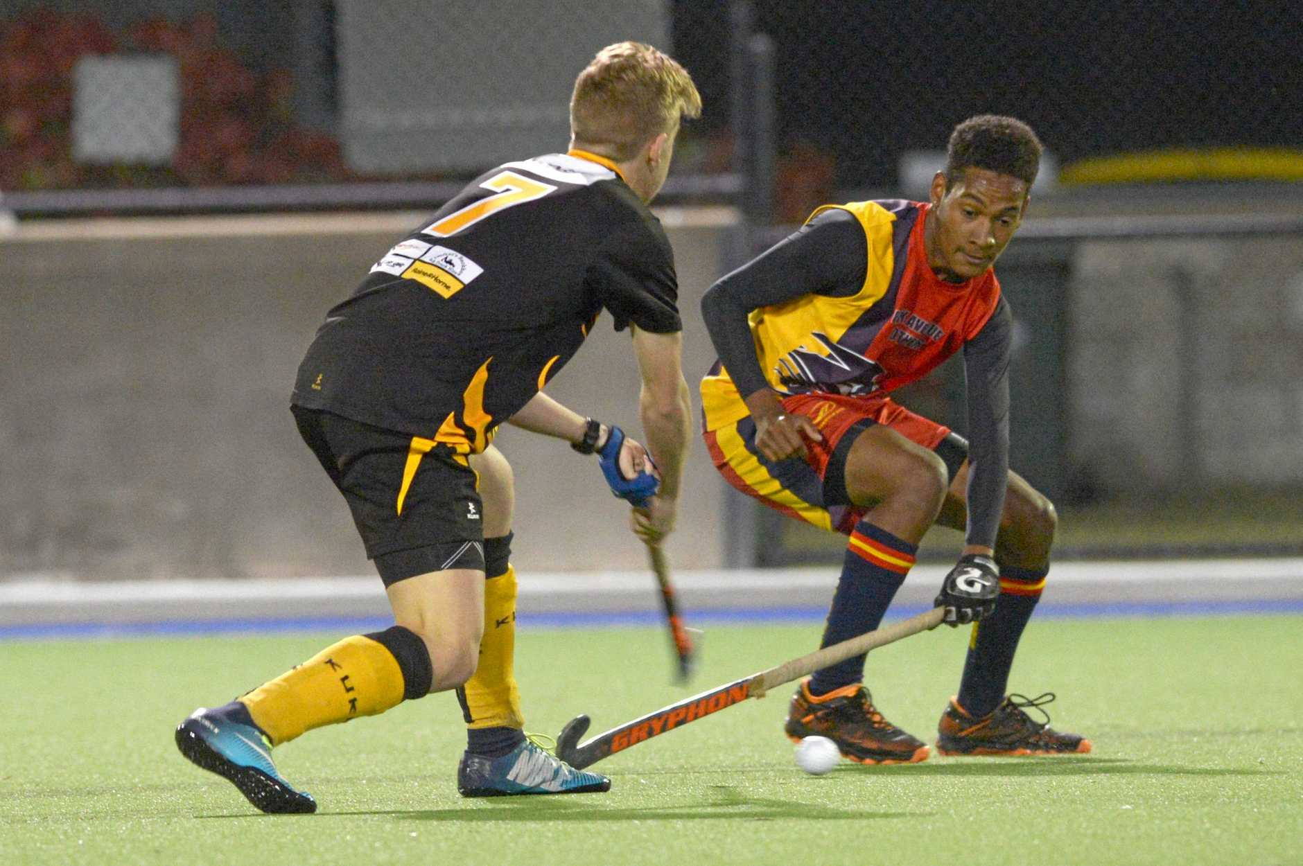 HOCKEY MENS CQ LEAGUE: Souths' Riley O'Hanlon and Park Avenue Brothers' Ross Williams