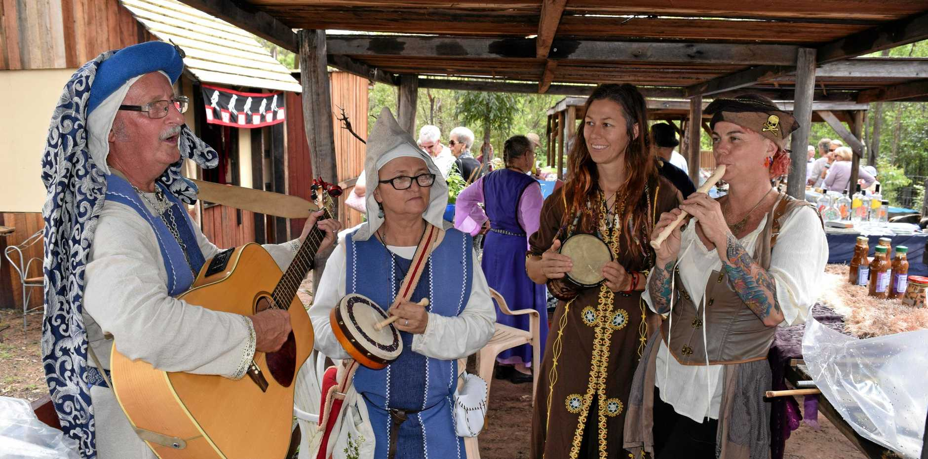 Victory Village Fayre - Making magic sounds (from left) minstrel Steve Bryson, Lady Jenny Bryson, Lady Peta Milne and Red Robyn.