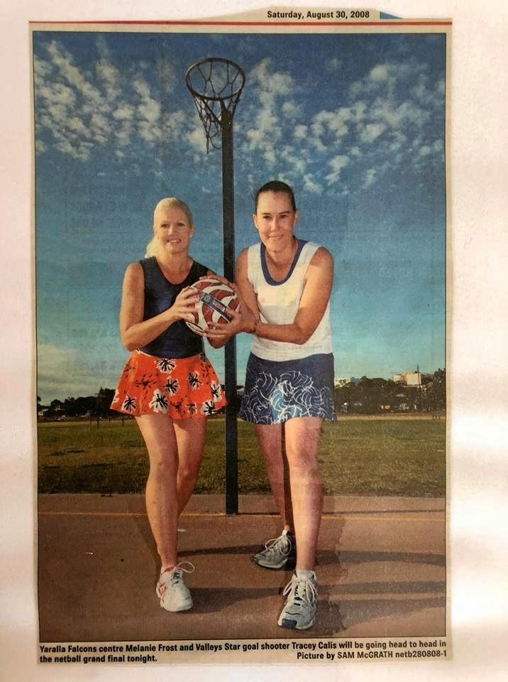 AGELESS: Different year but same opponents. melanie Dyball and Tracey Calis pose back in 2008.