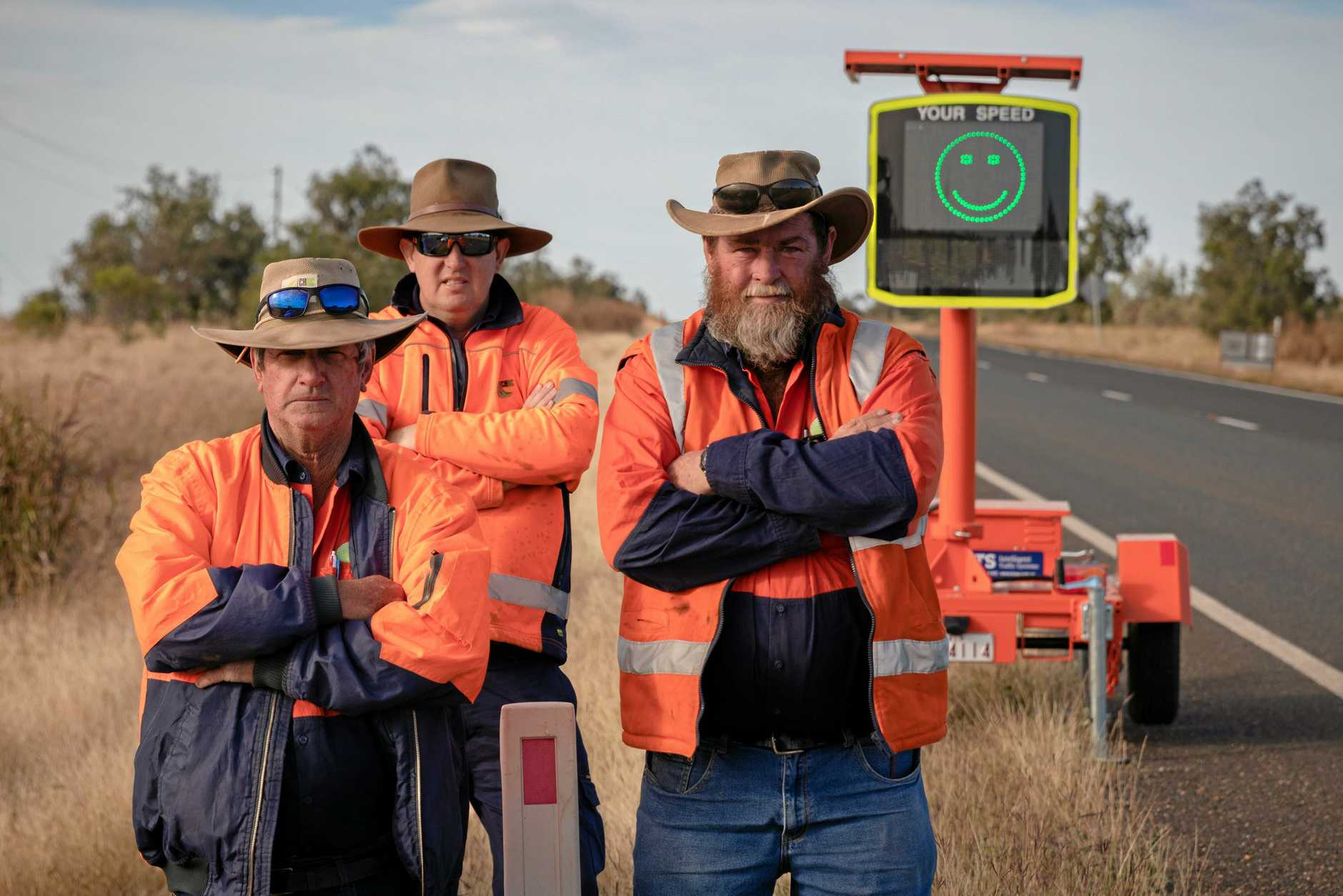Council's Capella roadwork crew Ash Eddy, Anthony Wells and Greg Irwin think the signs help people to slow down.