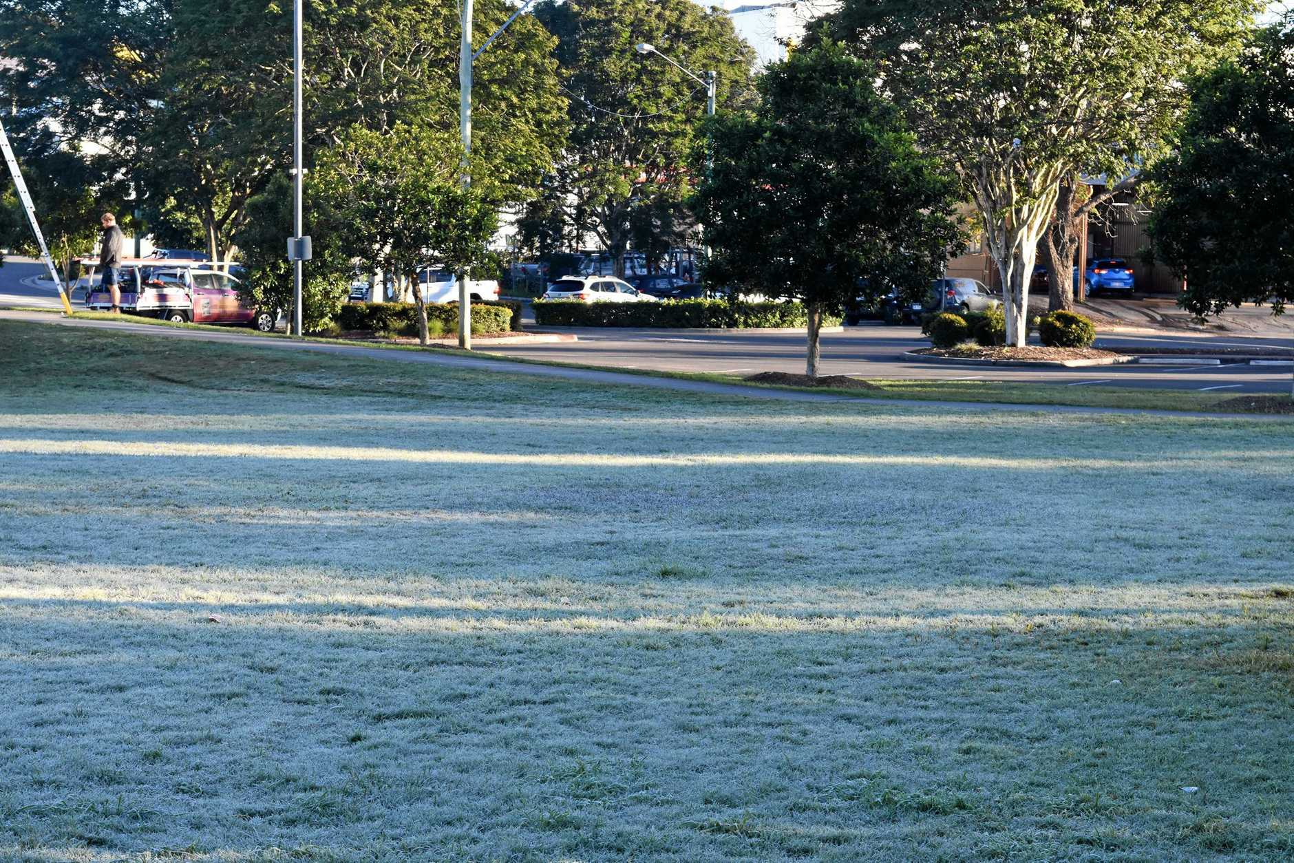A frosty Nelson Reserve at 7.30am Wednesday morning.